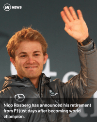 "Memes, F1, and Grand: HH NEWS  Nico Rosberg has announced his retirement  from F1 just days after becoming world  champion He's only been champion for a matter of days, but Nico Rosberg has just ended his career on a high by announcing his retirement at an FIA press conference in Vienna. The decision was actually made some weeks ago at the Japanese Grand Prix. Rosberg had previously mentioned the Abu Dhabi race on his Facebook page, saying that ""...it could be my last race..."" Follow @wtf1couk for more breaking F1 news!"