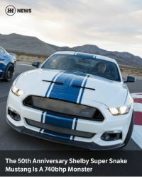 Dodge Challenger, Memes, and Monster: HH NEWS  The 50th Anniversary Shelby Super Snake  Mustang IS A 740bhp Monster Via @carthrottlenews - It's been a pretty big week for shouty American cars with V8s. We had the news about the Ford Mustang facelift, more details emerging about the Dodge Challenger SRT Demon and now this: the 50th Anniversary Shelby Super Snake Mustang. - As with the last Super Snake Mustang from Shelby American, the 50th Anniversary car straps a supercharger to the familiar 5.0-litre Coyote V8 to push the eight-cylinder anger well beyond 600bhp. It's good for 660bhp in 'standard' guise, although if you tick the right options (which you absolutely should), that jumps to 740bhp. Lovely. - Thankfully, Shelby hasn't just chucked a load of power to the rear wheels and left it at that. The 50th also gets upgraded brakes in the form of six-piston front-four-piston rear callipers from Wilwood, along with a new ducting to keep them cool. - The suspension has been given a thorough working over with new dampers, springs, anti-roll bars and bushes, while the exterior has been treated to a whole host of angrier body parts. Plus a smattering of 50th Anniversary badges, obviously. - Naturally this doesn't come cheap: the total cost including the standard Mustang donor car comes to $69,995, before you tick that 740bhp option. But for a proper Shelby-tuned pony car with a silly power output and an enviable parts list, perhaps that's not so bad.