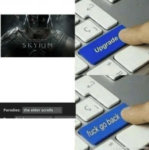 This meme references a Skyrim hentai I found in case you are don't understand it: Hhe Glder Scrolls V  ´SKYRIM  Upgrade  Parodies: the elder scrolls (29)  fuck go back  made with mnematic This meme references a Skyrim hentai I found in case you are don't understand it