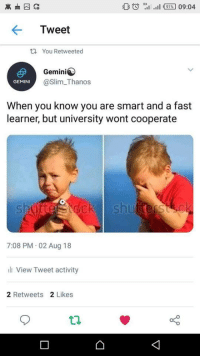 Tumblr, Gemini, and Http: HI all  09:04  Tweet  ta You Retweeted  Gemini  GEMINI  @Slim_Thanos  When you know you are smart and a fast  learner, but university wont cooperate  sl  7:08 PM 02 Aug 18  ili View Tweet activity  2 Retweets 2 Likes If you are a student Follow @studentlifeproblems