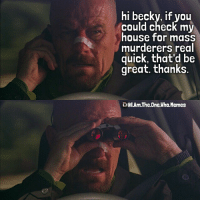 breakingbad walterwhite heisenberg: hi becky, if you  could check my  house for mass  murderers real  quick, that'd be  great.. thanks  GelAmThe One Who Memes breakingbad walterwhite heisenberg