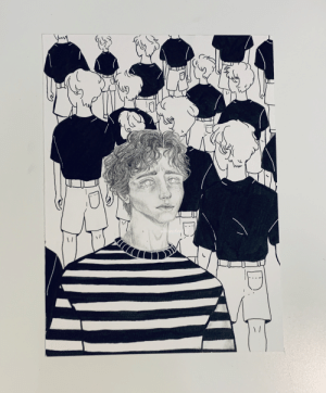 """Hi guys! This is an artwork I made a while ago...I'm insecure about it but I really hope someone relates to it...It is titled """"Individuation"""" and is about the struggle to be uniquely ourselves. Hope someone feels proud of me :'): Hi guys! This is an artwork I made a while ago...I'm insecure about it but I really hope someone relates to it...It is titled """"Individuation"""" and is about the struggle to be uniquely ourselves. Hope someone feels proud of me :')"""