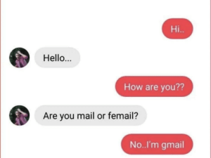 Hello, Gmail, and Mail: Hi..  Hello..  How are you??  Are you mail or femail?  No..I'm gmail Mail or femail