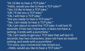 "Oldie Goldie: ""Hi, I'd like to hear a TCP joke.""  ""Hello, would you like to hear a TCP joke?""  ""Yes, I'd like to hear a TCP joke.""  ""OK, I'll tell you a TCP joke.""  ""Ok, I will hear a TCP joke.""  ""Are you ready to hear a TCP joke?""  ""Yes, I am ready to hear a TCP joke.""  ""Ok, I am about to send the TCP joke. It will last 10  seconds, it has two characters, it does not have a  setting, it ends with a punchline.""  ""Ok, I am ready to get your TCP joke that will last 10  seconds, has two characters, does not have an explicit  setting, and ends with a punchline.""  ""I'm sorry, your connection has timed out.  ...Hello, would you like to hear a TCP joke?"" Oldie Goldie"