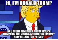 "Memes, Prison, and 🤖: HI, IM DONALD TRUMP  YOU MIGHT REMEMBER MEFROM SUCH  CAMPAIGN PROMISES ASRORAIN THE SWAMP""  AND HILLARY FOR PRISON"""
