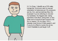 cis male: Hi, I'm Greg. l identify as a CIS male,  human-kin, omnivore, and my sexual  orientation is heterosexual. My pronouns  are he, him, and sometimes they (for  example if you're referring to me and  my buddies). My triggers are: being  punched in the face, being shot, or any  other sort of physical harm done to me  for no reason. On my blog l WILL  tolerate most forms of free speech, and  if you try to offend or poke fun at me,  won't hesitate to just laugh it off.