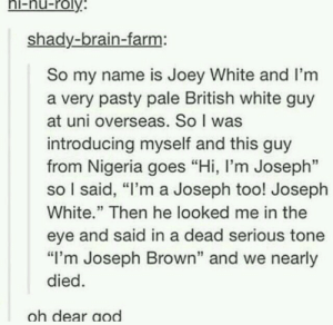"Brain, Nigeria, and White: hi-nu-roly  shady-brain-farm:  So my name is Joey White and I'm  a very pasty pale British white guy  at uni overseas. So I was  introducing myself and this guy  from Nigeria goes ""Hi, l'm Joseph""  so I said, ""I'm a Joseph too! Joseph  White."" Then he looked me in the  eye and said in a dead serious tone  ""I'm Joseph Brown"" and we nearly  died  oh dear aod Joseph"