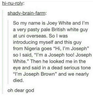"God, Brain, and Nigeria: hi-nu-roly:  shady-brain-farm:  So my name is Joey White and I'm  a very pasty pale British white guy  at uni overseas. So I was  introducing myself and this guy  from Nigeria goes ""Hi, I'm Joseph""  so I said, ""I'm a Joseph too! Joseph  White."" Then he looked me in the  eye and said in a dead serious tone  ""I'm Joseph Brown"" and we nearly  died.  oh dear god"