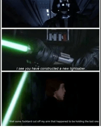 I still love this: HI  see you have constructed a new lightsaber.  Well some fucktard cut off my arm that happened to be holding the last one I still love this