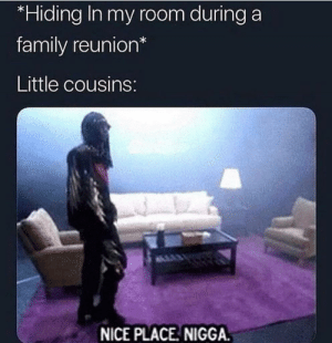 You can run but you cant hide by memelordtrystan MORE MEMES: *Hiding In my room during a  family reunion*  Little cousins  NICE PLACE NIGGA You can run but you cant hide by memelordtrystan MORE MEMES