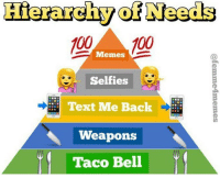 if you need to know what gift to get for me, these are my needs (rp: the brilliant @femme4memes): Hierarchy otNeeds  100  Memes  100  Selfies  Text Me Back  Weapons  Taco Bell if you need to know what gift to get for me, these are my needs (rp: the brilliant @femme4memes)