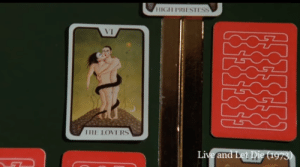 In the James Bond movie Live and Let Die (1973) the pattern on the back of the tarot cards forms 007: HIGH PRIESTESS  VI  THE LOVERS  Live and Let Die (1973) In the James Bond movie Live and Let Die (1973) the pattern on the back of the tarot cards forms 007