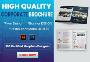 Best, Free, and Restaurant: HIGH QUALITY  CORPORATE BROCHURE  THE BEST COMFANY  2012  Banner DESIGN  *Flyer Design  *Restaurant Menu DESIGN  Ps  Ai  a  12%  SSB Certified Graphics Designer  ORDER NOW FREE TEMPLATE