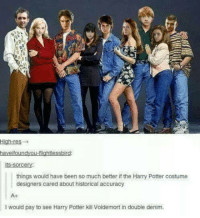 Memes, Historical, and Design: High-res  haveifoundyou-flightlessbird:  its-sorcery:  things would have been so much better if the Harry Potter costume  designers cared about historical accuracy  A+  l would pay to see Harry Potter kill Voldemort in double denim. ~Dobby