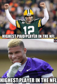Aaron Rodgers vs. Tyrann Mathieu: HIGHEST PAID PLAYERIN THE NFL  MEME  HIGHESTPLAYER IN THE NFL Aaron Rodgers vs. Tyrann Mathieu