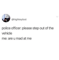 Group Chat, Memes, and Police: @highkeylost  police officer: please step out of the  vehicle  me: are u mad at me 😂😭 if this ain't me 💀 honestly have to have a group chat available at all times just to ask everyone if they're mad at me 💯😂 (via @insta.single - highkeylost)