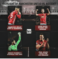 😂 great game Who would you want United to play next round 👇: HIGHLIGHT OF MANCHESTER UNITED vs. ROSTov?  JUAN MATA  MARCOS ROJO  SCORES THE  EATS A BANANA  WINNER  b/r  PHIL JONES  SERGIO ROMERO'S  CALLS FOR  STOPPAGE TIME SAVE  HIS INHALER 😂 great game Who would you want United to play next round 👇