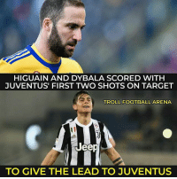 Football, Memes, and Target: HIGUAIN AND DYBALA SCORED WITH  JUVENTUS FIRST TWO SHOTS ON TARGET  TROLL FOOTBALL ARENA  Jeep  TO GIVE THE LEAD TO JUVENTUS Tottenham 1-2 Juventus ChampionsLeague