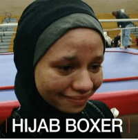 Boxing, Memes, and Muslim: HIJAB BOXER 8 MAY: A Muslim teenager in the United States has become the first person in the country to fight in an official boxing match while wearing a hijab. 16- year old Amaiya Zafar is from Minnesota and plans to challenge boxing uniform regulations on the international stage as well. Boxing Hijab Muslim USA Boxer AmaiyaZafar Amaiya Teen BBCShorts BBCNews @BBCNews @amaiya_zafar