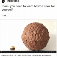 Memes, Tumblr, and Giant: hijerking  mom: you need to learn how to cook for  yourself  me:  GIANT FERRERO ROCHER RECIPE How To Cook That Ann Reardon Those little shits are so good! 😩❤️ • • Want a shoutout? DM for info. • • { funnytumblr textposts funnytextpost tumblr funnytumblrpost tumblrfunny followme tumblrfunny textpost tumblrpost haha shoutout}