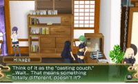 """Hikage  Think of it as the """"casting couch.""""  Wait... That means something  totally different, doesn't it? Uh oh."""