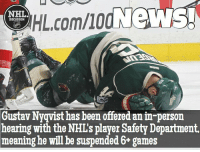 Nyqvist is facing a lengthy suspension. Each game he misses he will forfeit over $26,000 Nyqvist Wings Detroit Spurgeon Hearing Suspension HighStick Dirty: HIL.comllod News!  NHL  DISCUSSION  Gustav Nyqvist has been offered anin-person  hearing with the NHL's player Safety Department,  meaning he will be suspended 6+ games Nyqvist is facing a lengthy suspension. Each game he misses he will forfeit over $26,000 Nyqvist Wings Detroit Spurgeon Hearing Suspension HighStick Dirty