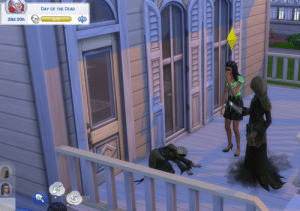 God, Love, and Tumblr: hil h  DAY OF THE DEAD  28d 20h simsgonewrong:  The grim reaper died on my porch then came to reap himself. God I love this game.