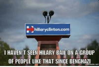 Hillary Clinton, Memes, and 🤖: hillary Clinton.com  I HAVEN T SEEN HILARY BAIL ON A GROUP  OF PEOPLE LIKE THAT SINCE BENGHAZI  mematic net Last night, Hillary sent Podesta out to shoo the sheep.