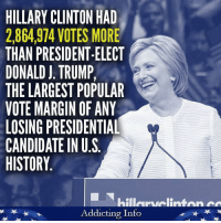 "Trump and the GOP Congress do NOT have a mandate to govern America with a radical right wing agenda. ""Share"" if you agree!   Image: Addicting Info: HILLARY CLINTON HAD  2,864,974 VOTES MORE  THAN PRESIDENT-ELECT  DONALD J. TRUMP,  THE LARGEST POPULAR  VOTE MARGIN OF ANY  LOSING PRESIDENTIAL  CANDIDATE IN U.S  HISTORY  hillervelinten  Addicting Info Trump and the GOP Congress do NOT have a mandate to govern America with a radical right wing agenda. ""Share"" if you agree!   Image: Addicting Info"
