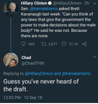 "Hillary Clinton, Memes, and Guess: Hillary Clinton @HillaryClinton 2h  Sen. @kamalaharris asked Brett  Kavanaugh last week: ""Can you think of  any laws that give the government the  power to make decisions about the male  body?"" He said he was not. Because  there are none.  465 th 2,677  12.1K  Chad  @ChadTF89  Replying to @HillaryClinton and @KamalaHarris  Guess you've never heard of  the draft.  12:02 PM 12 Sep 18 (GC)"
