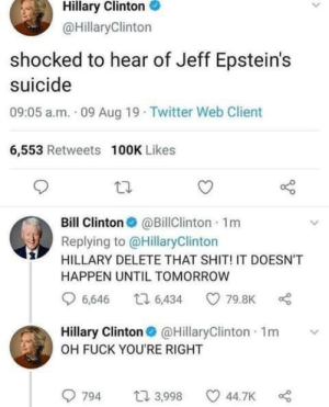 Memes for Americans ™©®: Hillary Clinton  @HillaryClinton  shocked to hear of Jeff Epstein's  suicide  09:05 a.m. 09 Aug 19 Twitter Web Client  6,553 Retweets 100K Likes  Bill Clinton@BillClinton 1m  Replying to @HillaryClinton  HILLARY DELETE THAT SHIT! IT DOESNT  HAPPEN UNTIL TOMORROW  6,646  ti 6,434  79.8K  Hillary Clinton  @HillaryClinton 1m  OH FUCK YOU'RE RIGHT  t3,998  794  44.7K Memes for Americans ™©®