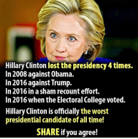 Did anyone else have fun watching Hillary lose 4 times?  There Is PANIC In The Diabetes Industry! Big Pharma executives can't believe their eyes. SEE WHY CLICK HERE ►► http://u-read.org/no-diabetes: Hillary Clinton lost the presidency 4 times.  In 2008 against 0bama.  In 2016 against Trump.  In 2016 in a sham recount effort.  In 2016 when the Electoral College voted.  Hillary Clinton is officially the worst  presidential candidate of all time!  SHARE if you agree! Did anyone else have fun watching Hillary lose 4 times?  There Is PANIC In The Diabetes Industry! Big Pharma executives can't believe their eyes. SEE WHY CLICK HERE ►► http://u-read.org/no-diabetes