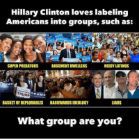 Hillary Clinton, Latinos, and Love: Hillary Clinton loves labeling  Americans into groups, such as:  NEEDY LATINOS  SUPER PREDATORS  BASEMENT DWELLERS  MP  TRUMP  TRUMP  LIARS  BASKET OFIDEPLORABLES  BACKWARDSIDEOLOGY  what group are you?