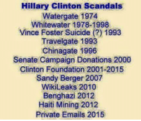 Anna, Hillary Clinton, and Memes: Hillary Clinton Scandals  Watergate 1974  Whitewater1  Vince Foster Suicide (?) 1993  Travelgate 1993  Chinagate 1996  Senate Campaign Donations 2000  Clinton Foundation 2001-2015  Sandy Berger 2007  WikiLeaks 2010  Benghazi 2012  Haiti Mining 2012  Private Emails 2015 And yet she can run for President?  What is wrong with this picture? -- Check out Our 2nd Amendment Apparel: http://goo.gl/YQERIk  Anna Ray aka Phoenix