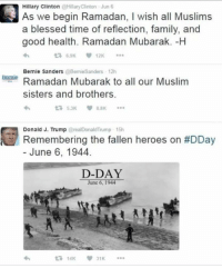 Blessed, Family, and Memes: Hillary ClintonHllaryClinton Jun 6  As we begin Ramadan, I wish all Muslims  a blessed time of reflection, family, and  good health. Ramadan Mubarak. -H  Bernie SandersBemieSanders 12h  eRamadan Mubarak to all our Muslim  sisters and brothers.  Donald J. Trump @realDonaldTrump 15h  u Remembering the fallen heroes on #DDay  - June 6, 1944.  D-DAY  June 6, 1944  わ  £714K  31K Never Forgetti.