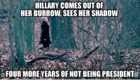 Cold Dead Hands: HILLARY COMES OUT OF  HER BURROW SEES HER SHADOW  FOUR MORE YEARS OF NOT BEING PRESIDENT Cold Dead Hands
