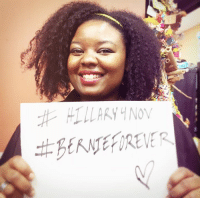 """Memes, Racism, and Millennials: HILLARY NOV Monique Morgan, a Millennial Berner, has a message for fellow Berners:   """"Please don't let your anger with the DNC get it the way of recognizing how dangerous Trump is. I'm afraid that racism has become more normalized and socially acceptable during this campaign. I can't imagine what it'll be like if he actually wins. It's terrifying to even consider."""""""