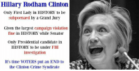 Crime, Fbi, and Memes: Hillary Rodham Clinton  Only First Lady in HISTORY to be  subpoenaed by a Grand Jury  Given the largest campaign violation  fine in HISTORY While Senator  Only Presidential candidate in  HISTORY to be under FBI  investigation  It's time VOTERS put an END to  the Clinton Crime Syndicate Everyone needs to know this!