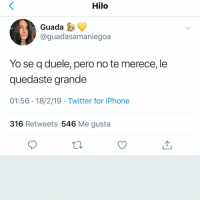 Iphone, Twitter, and Yo: Hilo  Guada  aguadasamaniegoa  Yo se q duele, pero no te merece, le  quedaste grande  01:56 18/2/19 Twitter for iPhone  316 Retweets 546 Me gusta 🍃