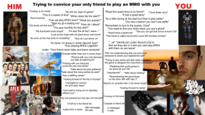 """Being Alone, Crazy, and Fuck You: HIM  Trying to convice your only friend to play an MMO with youYOU  """"Fantasy is for nerds'  """"Its not my type of game""""  """"Read the quest story is so funny!""""  """"I level faster sor  """"This is a waste of time""""""""When does the fun start?""""  """"It has a great story""""  """"Sooo booring""""  """"Can we play APEX now?"""" """"What are quests?""""  """"Wait my gf is texting me"""" """"How do I attack""""  """"Its a little boring at the start but then it gets better""""  """"Remember to turn in the quests, Chad""""  """"You are a warrior you can't use staffs""""  """"130 levels wht the fuck?!""""  You pay monthly for this shit?""""  """"You need to find your body when you are a ghost""""  Dwarf have a great lore""""  """"All characters looks stupid""""  You play this all day? Jesus...""""  """"Yea you can get that armor at level 130""""  """"Look at this virgin with his giant armor and horse""""  t armor and horseave  """"The horse is called mount and I have 500 hundred of them""""  """"As soon as the trial ends im unistalling""""  """"How do I put armor on""""  """"Im done, Im going in Justin discord, bye!""""  """"now playing APEX Legends*  """"...ok"""" """"silenlty join Justin discord only to  find out they are in 3 and you cant play APEX  with them so you leave*  Justin: """"Your friend never talks and leave randomly""""  Actually better than you in some vidya* Him not understanding that you just want  someone to share your experience wit  *Playing with you only because  you play at weird hours  Trying to play alone and feel really sad when  the game is designed for more than one player  """"Playing with you because  youre the only one online*  Realizing that youre going to  be alone all your life*  unemployed  Talks about his past girlfrends  Talks about the crazy parties he went*  Has a fuflling career  """"looking forward to the trip in Europe*  Talks about nothing*  """"Remembering the good times  on the xbox 360 with halo 3*  managed to convice  Search on youtube halo 3 ost never forget  his gf to play vidya*  APEX  looking forward to dying  Cant wait to hang out on saturday  w"""