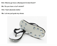 Spiked up the thongs.: Him: Wanna go have a Backyard CricketSesh?  Me: Do you have a turf wicket?  Him: Yeah absolute belter  Me: Let me just grab my shoes Spiked up the thongs.