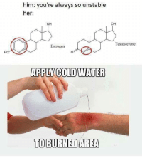 Credit: Organic Chemistry Memes/Akshay Kamath: him: you're always so unstable  her:  OH  OH  Testosterone  Estrogen  HO  APPLY COLD WATER  TO BURNED AREA Credit: Organic Chemistry Memes/Akshay Kamath