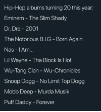 Dr. Dre, Eminem, and Lil Wayne: Hip-Hop albums turning 20 this year:  Eminem - The Slim Shady  Dr. Dre -2001  The Notorious B.I.G - Born Again  Nas - I Amm  Lil Wayne - Tha Block Is Hot  Wu-Tang Clan - Wu-Chronicles  Snoop Dogg-No Limit Top Dogg  Mobb Deep - Murda Musik  Puff Daddy - Forever Feel old yet? Which one was your favorite ?