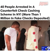 Cars, Fake, and Memes: HIPHOP  40 People Arrested in A  Counterfeit Check Cashing  Scheme in NY! (More Than 1  Million in Fake Checks Deposited)  5:57  63 Nearly 40 people were indicted Wednesday, accused of stealing more than $1 million through a counterfeit check cashing scheme. Prosecutors say it's the biggest fraud of its kind they've ever seen, with the suspects living large with piles of cash and boasting on social media. They allegedly lured accomplices with the promise of luxury cars and big - FULL VIDEO AND STORY AT PMWHIPHOP.COM LINK IN BIO @pmwhiphop @pmwhiphop @pmwhiphop @pmwhiphop @pmwhiphop @pmwhiphop
