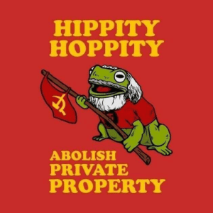 Rare Propaganda Poster Depicting Heroic Red Army Flag Bearer Moments Before Being Riddled With White Army Machine Gun Fire. Recently Identified as Little Known Brazilian Volunteer Only Known as Comrade Lucio. (Colorized. Tsaritsyn, 1919): HIPPITY  HOPPITY  ABOLISH  PRIVATE  PROPERTY Rare Propaganda Poster Depicting Heroic Red Army Flag Bearer Moments Before Being Riddled With White Army Machine Gun Fire. Recently Identified as Little Known Brazilian Volunteer Only Known as Comrade Lucio. (Colorized. Tsaritsyn, 1919)