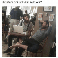 Funny, Meme, and Soldiers: Hipsters or Civil War soldiers? @funny is my favorite meme page right now! A must follow!