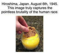 Image, Japan, and Race: Hiroshima, Japan. August 6th, 1945  This image truly captures the  pointless brutality of the human race. https://t.co/y9iB6zHQ87