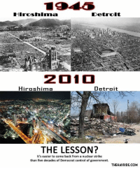 <p>&ldquo;But it&rsquo;s still the Republicans fault because reasons!&rdquo;</p>: Hiroshimma  201  Hiroshima  Detroit  THE LESSON?  It's easier to come back from a nuclear strike  than five decades of Democrat control of government.  THEHAYRIDE.COM <p>&ldquo;But it&rsquo;s still the Republicans fault because reasons!&rdquo;</p>