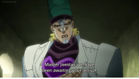 Did he read the manga?: HIS AHI  Master joestar, we have  been awaiting your arrival Did he read the manga?