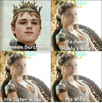 Wife, Gameofthrones, and Sisters: His Aun  Tommen Baratheon(Renly's wi  Tom men Baratheon  (Rehly's Wife)  ThronesMemes  His Sister in law #GameOfThrones is complicated! https://t.co/e5RyZUaPIp